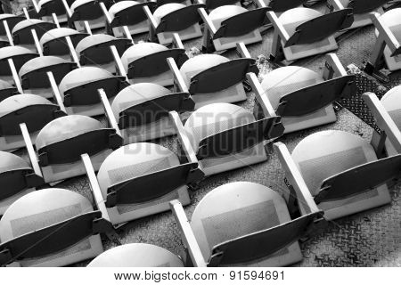 Gray Seats In The Stands Before The Sporting Event