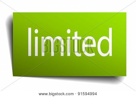 Limited Green Paper Sign On White Background
