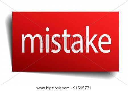 Mistake Red Square Isolated Paper Sign On White