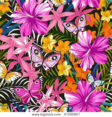 Exotic pattern with tropical leaves and flowers