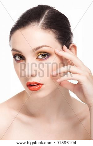 Beauty fashion girl. Portrait of beautiful young woman with fresh clean skin isolated on white Background.