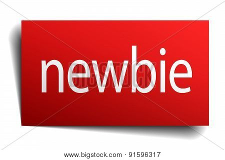 Newbie Red Square Isolated Paper Sign On White