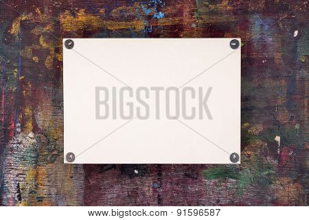 Sheet Of Watercolor Paper Pinned To Wooden Easel