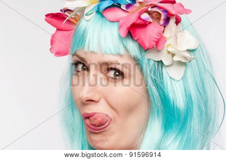 Crazy Girl Wig Tongue Out