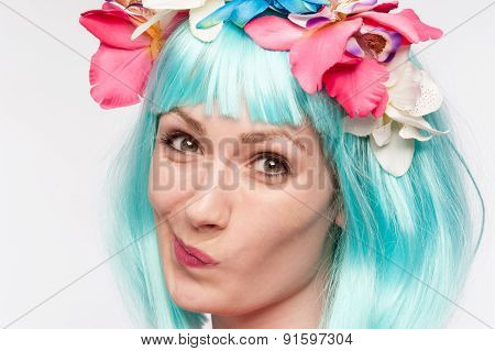 Twisted Face Girl Turquoise Wig Flowers