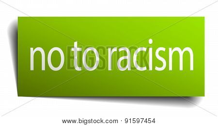 No To Racism Square Paper Sign Isolated On White