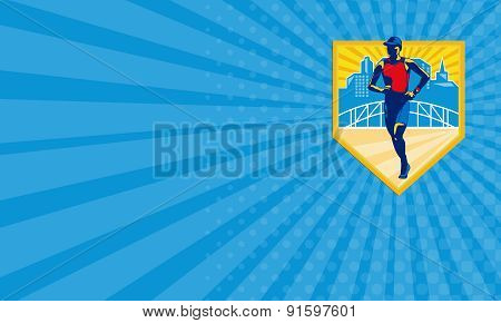 Business Card Triathlete Marathon Runner Retro
