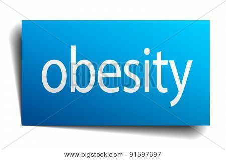 Obesity Blue Paper Sign On White Background