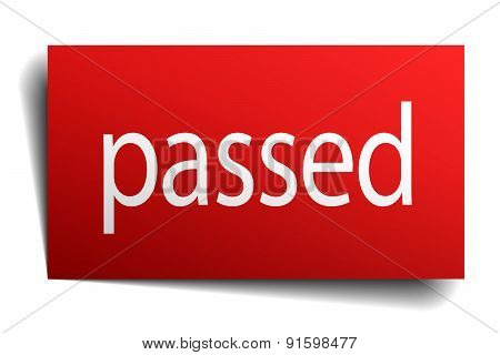 Passed Red Square Isolated Paper Sign On White