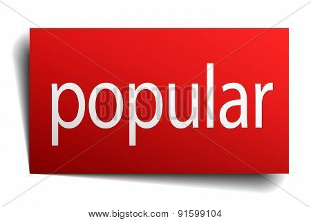 Popular Red Paper Sign On White Background