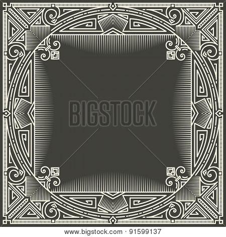 Vector floral and geometric monogram logo on dark gray background. Monogram design element.
