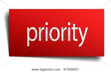 Priority Red Paper Sign On White Background
