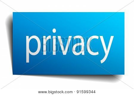 Privacy Blue Paper Sign On White Background