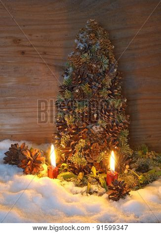 Christmas Tree Made Of Cones With Fir Branches