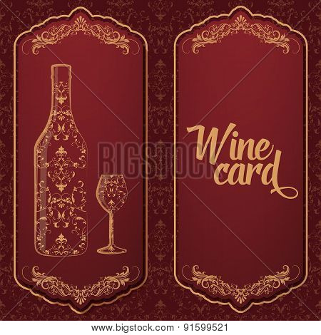 Vector wine card. With bottle and glass on the one side and text on the other. With elegant floral d