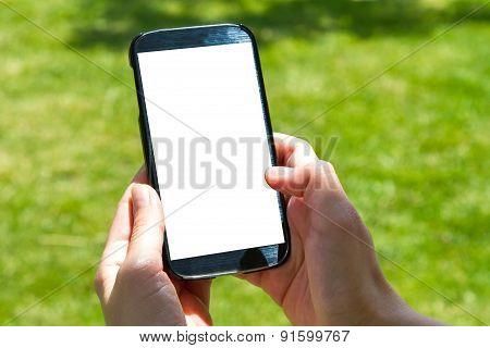 Female Hand Finger Touching Smart Phone
