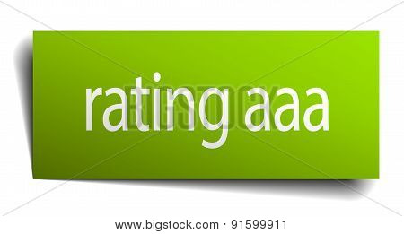 Rating Aaa Square Paper Sign Isolated On White