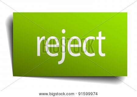 Reject Square Paper Sign Isolated On White