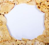 stock photo of flat-bread  - text frame of a slice of toasted bread flat - JPG
