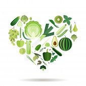 picture of olive shaped  - Green fruits and vegetables in a shape of a heart - JPG