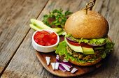 pic of millet  - spicy vegan curry burgers with millet chickpeas and herbs - JPG