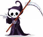 stock photo of grim-reaper  - Cute cartoon grim reaper with scythe pointing - JPG