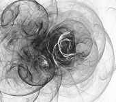 image of computer-generated  - Digital abstract fractal background generated at computer in black and white - JPG