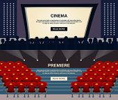 picture of cinema auditorium  - Cinema horizontal banner set with viewers in auditorium and screen flat elements isolated vector illustration - JPG