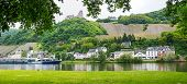 foto of moselle  - view to moselle river with passenger liner old castle ruin and bernkastel village germany - JPG