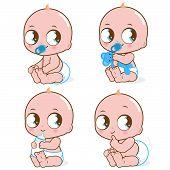 picture of pooping  - Vector Illustration set of cute babies drinking milk - JPG