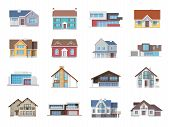 pic of nice house  - Town house cottage and assorted real estate building icons flat set isolated vector illustration - JPG