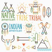 stock photo of wigwams  - Vector outline tribal labels set native indian american symbols: human and animal skull arrow feather 