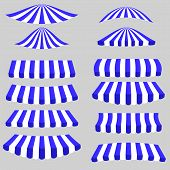 foto of canopy roof  - Blue White Tents Isolated on Grey Background - JPG