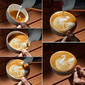 pic of latte  - Steps of making cafe latte art on the wooden table - JPG