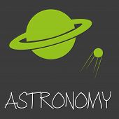 pic of astronomy  - astronomy text and planet in space symbol eps10 - JPG