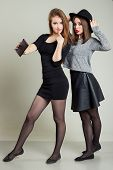 picture of two women taking cell phone  - Two cheerful  happy girl girlfriends photographed on the phone - JPG
