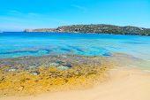 stock photo of shoreline  - yellow rocks in Capo Testa shoreline Sardinia - JPG