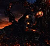 foto of creatures  - Creature made from lava and fire  - JPG