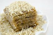 picture of baklava  - Baklava with grated walnuts on a plate close up - JPG
