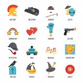 image of drama  - Film genres icon set with drama adventure detective pirate isolated vector illustration - JPG