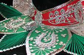 pic of mexican fiesta  - sequin and decorative ornate mexican hat ready for a fiesta with a gun - JPG