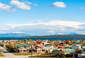 stock photo of natal  - Puerto Natales in the Strait Of Magellan Antarctic Patagonia Chile - JPG