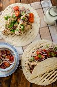 foto of souvlaki  - Turkey kebab with parsley salsa kebab grilled delicious salsa - JPG