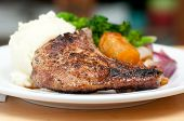 picture of roasted pork  - grilled pork rib chop with mashed potato and roasted carrot - JPG