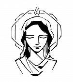 image of biblical  - Hand drawn vector illustration or drawing of Virgin Mary at Pentecost Biblic passage - JPG
