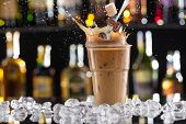 picture of cold drink  - Cold coffee drink with ice - JPG