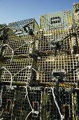 image of martha  - Stack of lobster pots in Menemsha Massachusetts on Martha - JPG