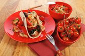 foto of tacos  - big mexican taco with tomatoes and mushroom - JPG