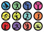 picture of recreation  - Round badges with people doing sports and recreation activities design - JPG