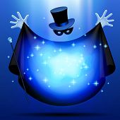 stock photo of wizard  - Invisible magician in top hat  and mask with black cloak performing a magic act with blue luminous cloud - JPG
